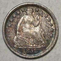 1852 LIBERTY SEATED HALF DIME, CHOICE ALMOST UNCIRCULATED,  TONING  0214-10