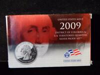 2009 U.S MINT D.C AND TERRITORIES SILVER QUARTERS PROOF SET.