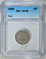 1866 RAYS SHIELD NICKEL ICG EF-45
