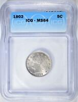 1902 LIBERTY NICKEL, ICG MINT STATE 64