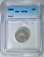 1883 SHIELD NICKEL, ICG AU-58