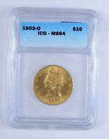 MINT STATE 64 1903-O $10.00 LIBERTY HEAD GOLD EAGLE - ICG GRADED 3163