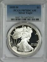 1995 W AMERICAN SILVER EAGLE PCGS PF70 DEEP CAMEO  NONE FINER TOP POP