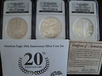 2006  SILVER EAGLE 20TH-ANNIVERSARY SET, NGC 1563265-019,1558526-017,1563265-083