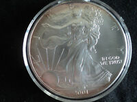 2001  $1  SILVER  EAGLE, GEM BRILLIANT UNCIRCULATED, ENCASULATED