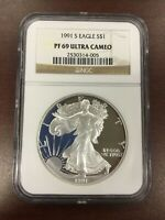 1991 S NGC PF69 ULTRA CAMEO PROOF AMERICAN SILVER EAGLE .999 1OZ