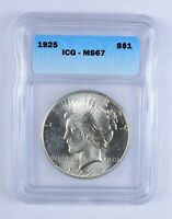 MINT STATE 67 1925 PEACE SILVER DOLLAR - ICG GRADED 3155