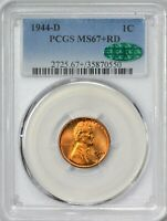 1944 D LINCOLN CENT PCGS MINT STATE 67 RED - CAC APPROVED ONLY TWO FINER AT PCGS