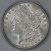 1897 MORGAN DOLLAR $1 VAM 6A PITTED REVERSE CHOICE AU  ABOUT UNCIRC PLUS 7136