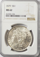 1879 $1 MORGAN SILVER ONE DOLLAR MINT STATE 62 NGC PHILADELPHIA VAM 41 WORM EYE