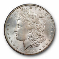 1902 S $1 MORGAN DOLLAR PCGS MINT STATE 64 UNCIRCULATED BETTER DATE LIGHTLY TONED