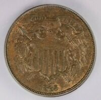 1865 TWO CENT PIECE 2C ICG MINT STATE 62 BR