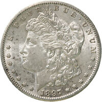 1897 S MORGAN SILVER DOLLAR ABOUT UNCIRCULATED AU SEE PICS D190