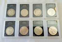 LIBERTY PEACE SILVER DOLLAR LOT 8 COINS AUTHENTICATED 1900 01 02 03 04 23 25 26
