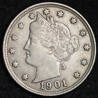 AU FULL LIBERTY 1901 LIBERTY V NICKEL FREE SHIPPING