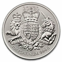 2020 BRITAIN 1 OZ PLATINUM ROYAL COAT OF ARMS 100 COIN GEM BU SKU61179