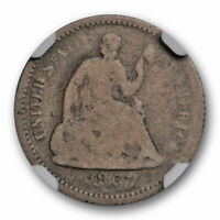 1867 SEATED LIBERTY HALF DIME NGC G 4 GOOD KEY DATE CAC APPROVED  COIN