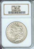 1902-O MORGAN SILVER DOLLAR S$1 NGC MINT STATE 65 MINT STATE 65 BEAUTIFUL OLDER HOLDER