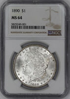1890 MORGAN SILVER DOLLAR $1 NGC CERTIFIED MINT STATE 64 MINT STATE UNCIRCULATED 001