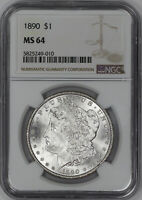 1890 MORGAN SILVER DOLLAR $1 NGC CERTIFIED MINT STATE 64 MINT STATE UNCIRCULATED 010