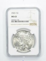 GRADED 1923 PEACE SILVER DOLLAR MS 63 NGC PROF AUTHENTICATED