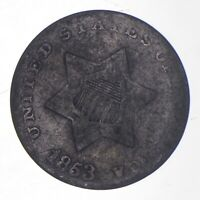 SILVER TRIME 1853 THREE CENT SILVER 3 CENT EARLY US COIN LO
