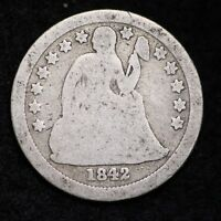 1842-O SEATED LIBERTY DIME CHOICE G SHIPS FREE E182 ANM