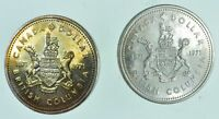 LOT OF 2 1971 & 1971 CANADA CANADIAN SILVER DOLLAR COIN .500