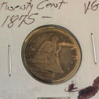 1875 S 20 CENT SEATED LIBERTY SILVER TWENTY CENT PIECE COIN