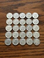 1964 ROOSEVELT DIME LOT OF 25 90  SILVER BEAUTIFUL CONDITION