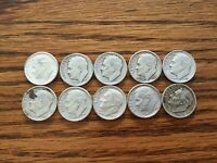 ROOSEVELT DIME 90  SILVER MIXED DATE / MINT LOT OF 10 1946 1