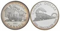 LOT OF 2 1981 & 1986 CANADA CANADIAN SILVER DOLLAR COIN .500
