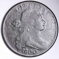 1800 DRAPED BUST LARGE CENT CHOICE VG SHIPS FREE E105 KNM