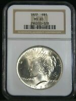 1922 SILVER PEACE DOLLAR NGC MINT STATE 65 BLAST WHITE SUPERB FROSTY LUSTER PQ G194