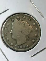 1890 LIBERTY HEAD V NICKEL.   1