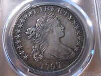 1797 SMALL EAGLE 10/6 STARS  DRAPED BUST  DOLLAR / PCGS EXTRA FINE  DETAILS