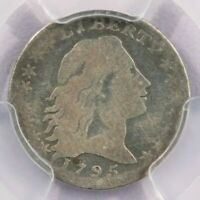 1795 FLOWING HAIR HALF DIME PCGS VG DETAILS CLEANED  LOOKING COIN STRONG VG
