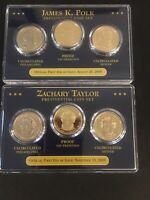 PRESIDENTIAL COIN SET OFFICIAL FIRST DAY OF ISSUE POLK TAYLOR PDS