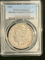 1894 MORGAN DOLLAR PCGS VF CLEANED, HARD TO FIND  GENUINE COIN, GREAT COIN