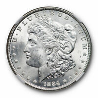 1884 $1 MORGAN DOLLAR NGC MINT STATE 63 UNCIRCULATED BLAST WHITE LUSTROUS SURFACES