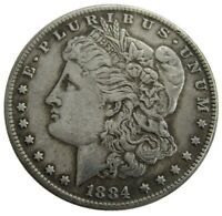 HANDICRAFT IMITATION SILVER DOLLAR 1884 AMERICAN MORGAN COIN SILVER PLATED