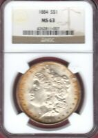 1884 MORGAN SILVER DOLLAR NGC MINT STATE 63  GOLD TONING  B1156