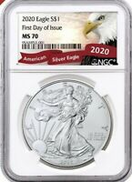 2020  W  SILVER EAGLE STRUCK AT WEST POINT NGC MS70 FDOI EAG