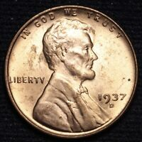 1937-D LINCOLN WHEAT SMALL CENT PENNY CHOICE BU RED SHIPS FREE E638 SE