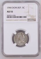 DOMINICAN REPUBLIC 5 CENTS 1944 AU55 NGC COIN   SEMI KEY DAT