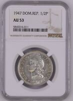 DOMINICAN REPUBLIC 1/2 PESO 1947 NGC AU53 SCARCE COIN