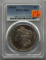 1878 S PCGS MINT STATE 63  VSS VAM 80  ENGRD WING F, LINES IN EAGLE, DBLD E-PL-R-B