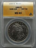 1880 P ANACS MINT STATE 63 VAM 11A DBLED 880, 8/7, CLSHD OBV ST HOT 50, ELITE CLASHED $