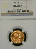 1954 S LINCOLN WHEAT CENT NGC MINT STATE 66RD BRIGHT RED SUPERB LUSTER PQ G458