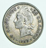 ROUGHLY SIZE OF DIME 1959 DOMINICAN REPUBLIC 10 CENTAVOS WOR